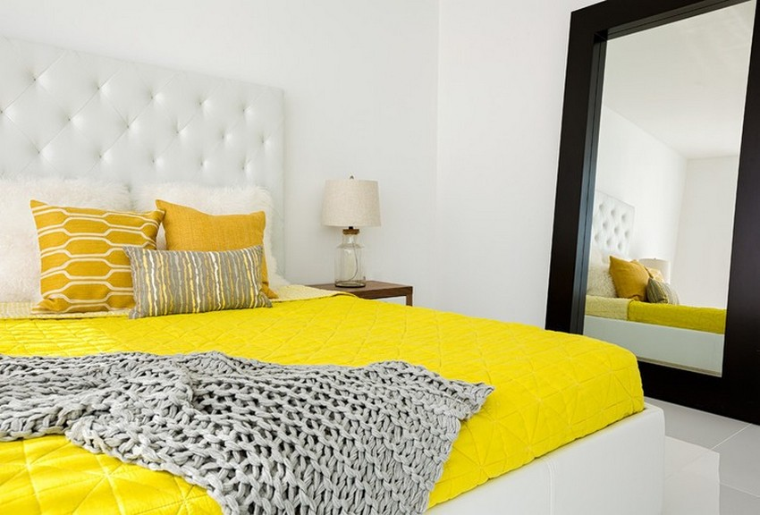 Stunning With Yellow White Bedroom
