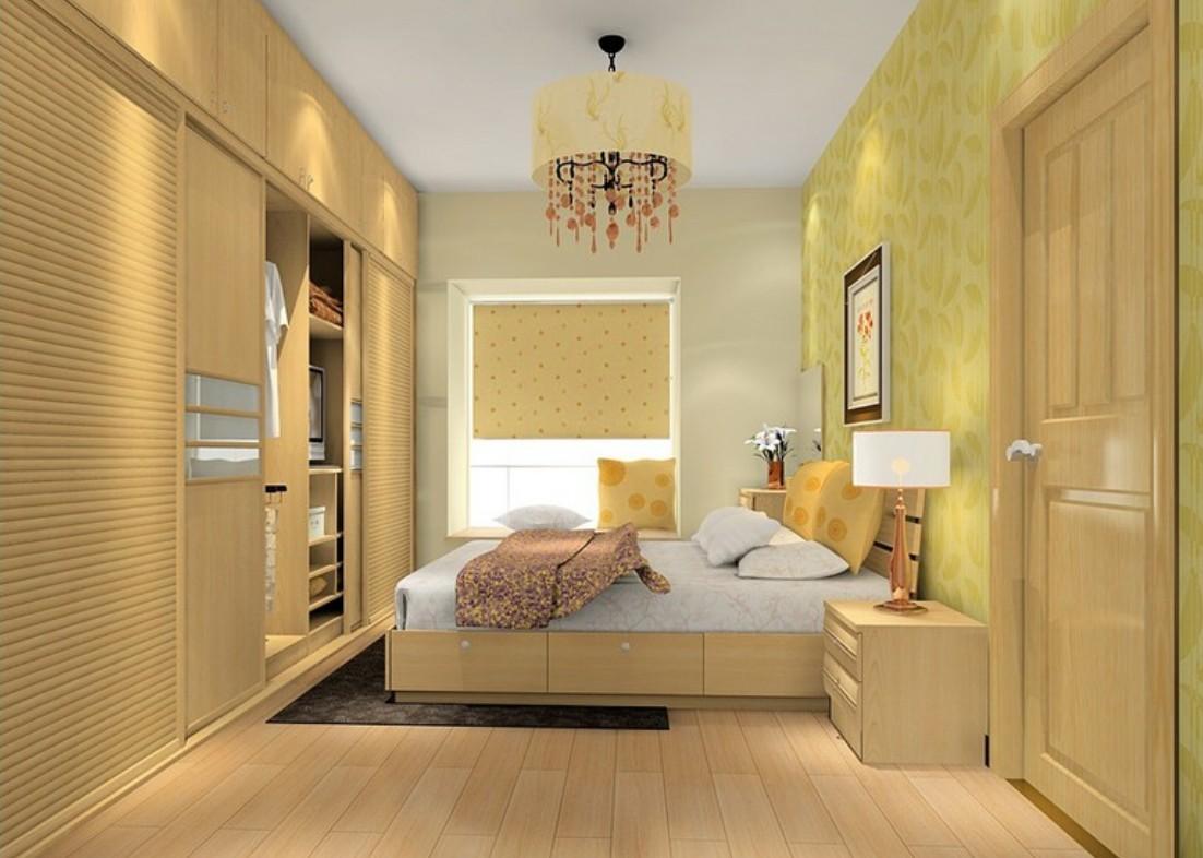 vintage-wooden-furniture-with-black-rug-also-drum-crystal-chandelier-set-in-minimalist-bedroom-space