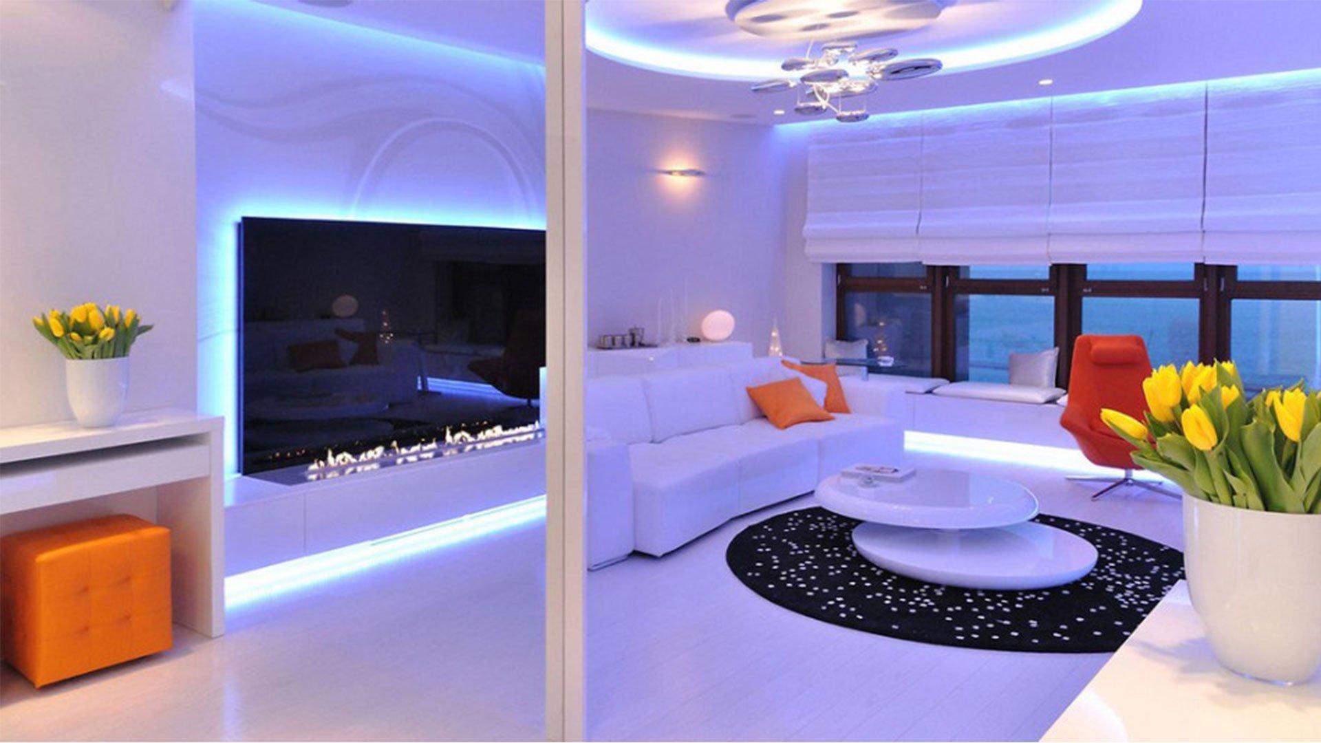 Family living room futuristic technology interior design