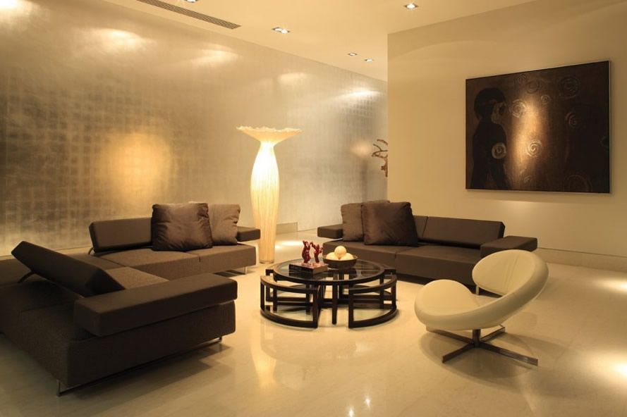 Living-Room-Lighting-Tips-to-Lighten-Your-Inside-Room-with-White-Nuance-Ceiling-Lamp-Brown-Sofa-Unique-Round-Table-White-Stand-Lamp-Ornament
