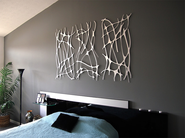 Modern-Bedroom-Design-Decorating-Ideas-Glossy-Wall-Art-Dark-Grey-Wall-Painting-modern-bedroom-wall-art-2-pieces