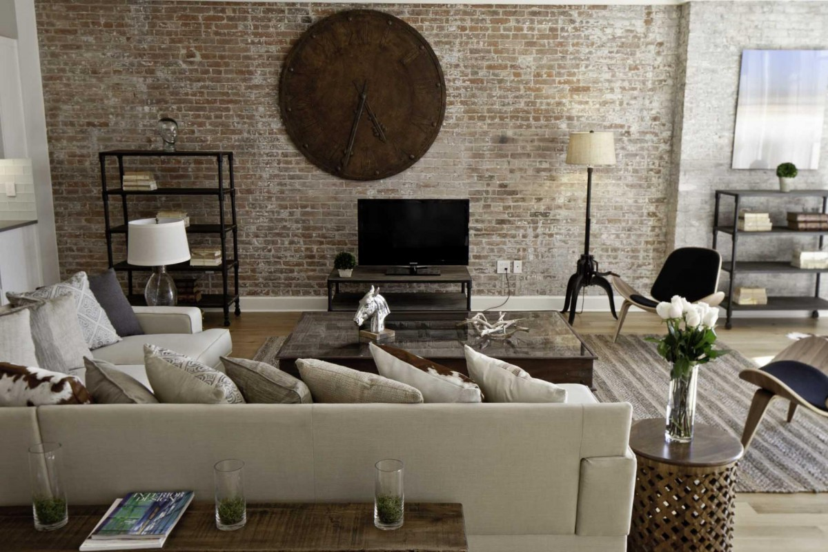 furniture-interior-modern-industrial-bedroom-interior-design-brick-wall-scheme-with-wooden-big-circle-clock-beige-foamy-bed-sofa-set-industrial-bedroom-interior-design