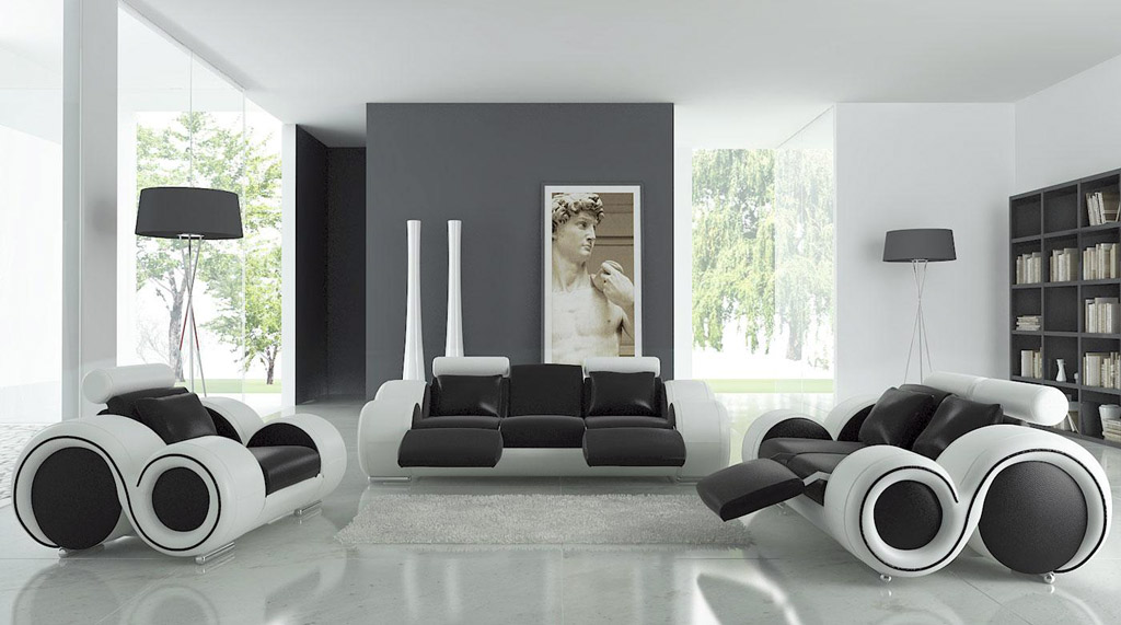 Modern Living Room In Black And White Theme