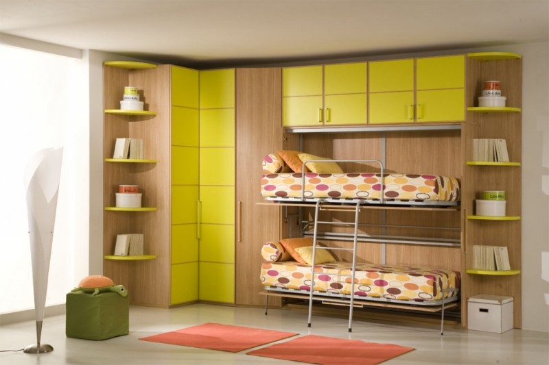 Green-Double-Loft-Beds-for-Girls-Bedroom-Design-Idea-By-Giessegi-800x533