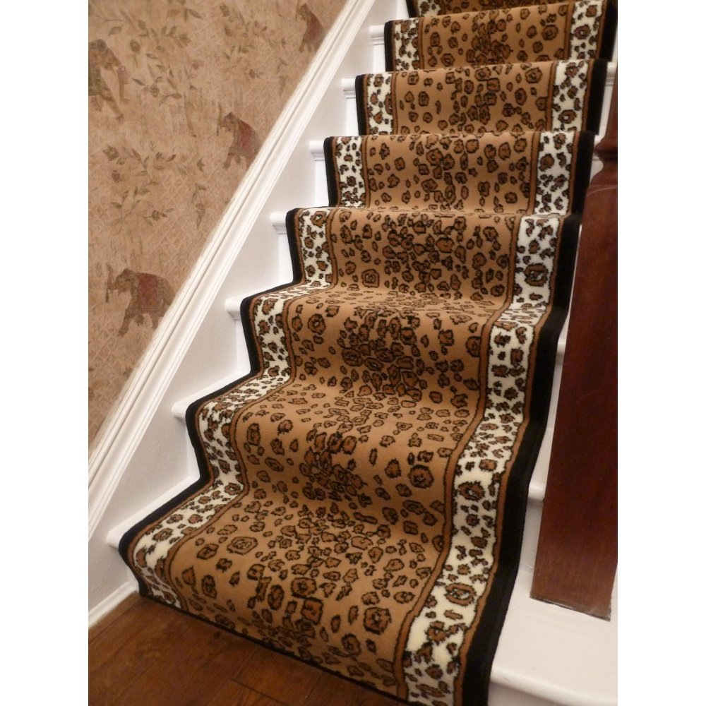 decorating-ideas-delectable-brown-leopard-print-carpeting-staircase-runner-width-for-staircase-and-home-interior-decoration-astounding-home-interior-decoration-with-leopard-print-carpeting