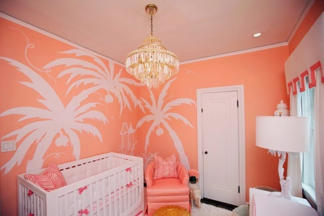 palm-beach-chic-nursery-coral-chinoiserie-vintage-chandelier